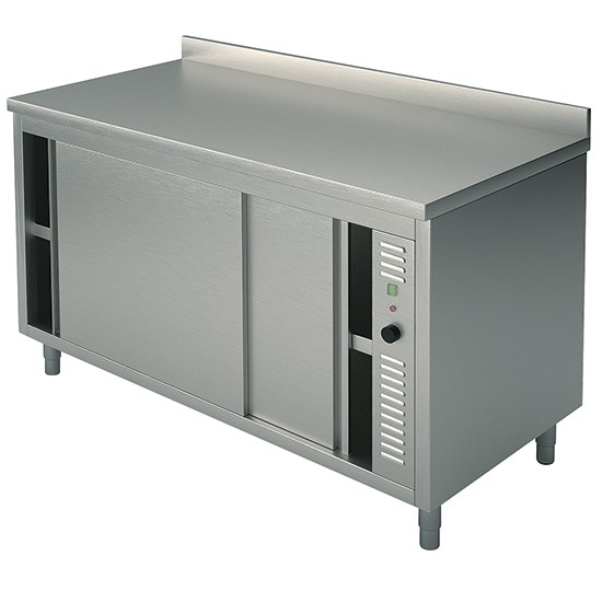 Premium Edelstahl Wärmeschrank mit Schiebtüren AK